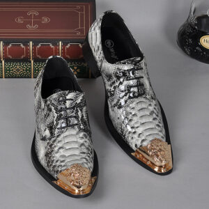 snake print golden toe buckle formal party shoes for men