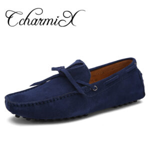 blue genuine leather boat shoes