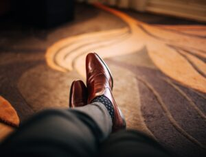 Brown leather material shoes