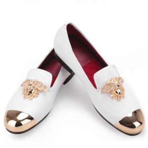 white golden buckle wedding prom party shoes for men