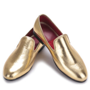 golden wedding party shoes for men
