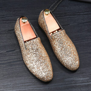 golden silver sparkling wedding party shoes for men