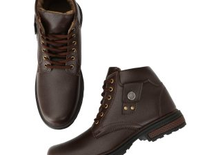Synthetic Leather Brown Biker Boots