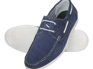 Men's Leather Boat Shoes in Blue Color