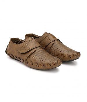 Synthetic Leather Loafer in Tan Colour