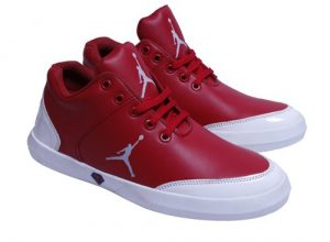 Synthetic Leather Stylish Red Sneakers Shoes for Mens