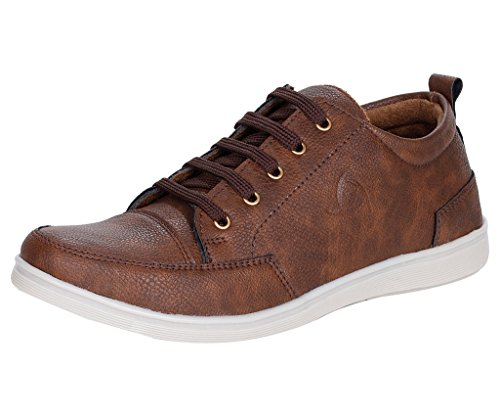 Kraasa Men\s Brown Faux Leather Boat Shoes (8)