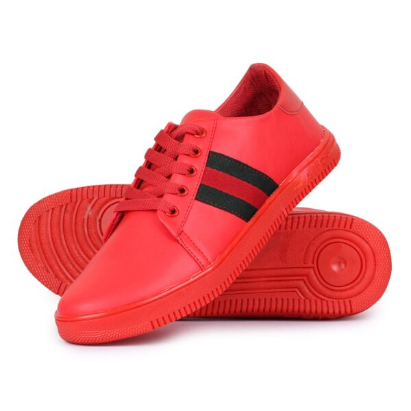 Shop this awesome Mens & Boys Red Sneaker with Black Stripe.
